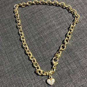 """18k """"Romance"""" Link Necklace w/Pavé Heart Charm"""